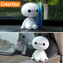 Cartoon Plastic Baymax Robot Shaking Head Figure Car Ornaments Auto Interior Decorations Big Hero Do