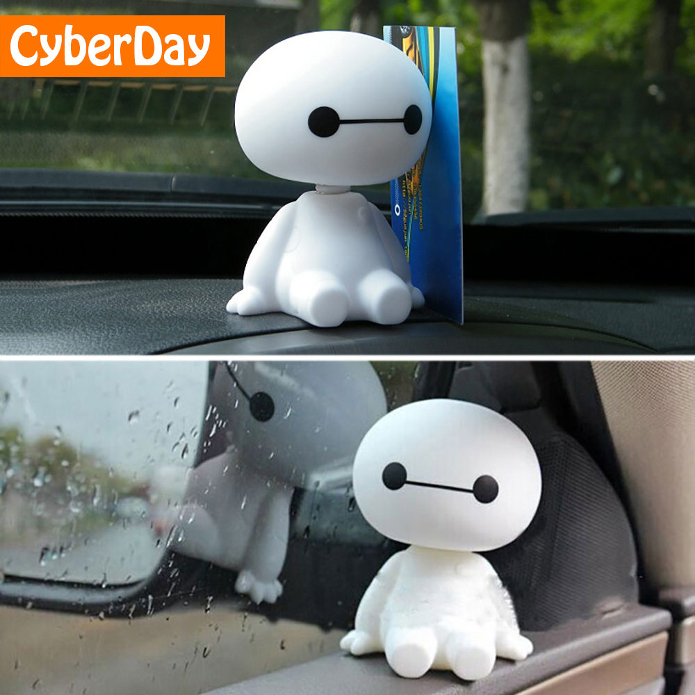 Kartun Plastik Baymax Robot Gemetar Kepala Gambar Mobil Ornamen Auto Interior Dekorasi Pahlawan Besar Boneka Mainan Ornamen Aksesoris title=