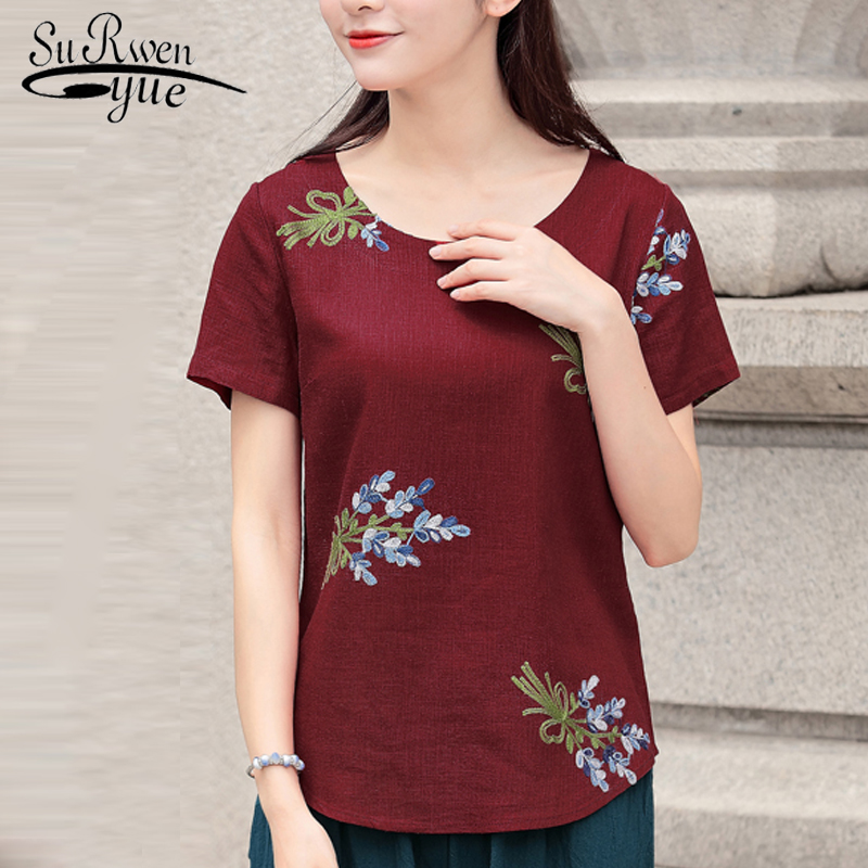 2018 fashion embroidery cotton linen women blouse shirt short sleeve summer women tops plus size womens clothing blusas D823 30
