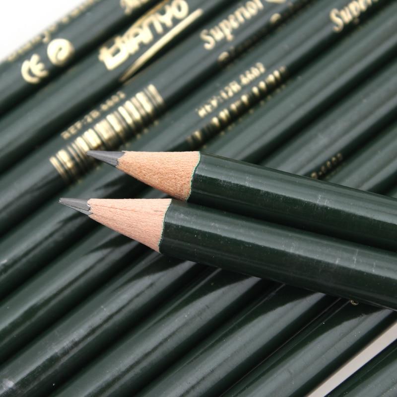 Bianyo12 Штук/Коробка 2H-12B Эскиз Рисунки Pencil Set Best Quality Non-toxic Стандартные Карандаши для Офиса Школы Карандаш