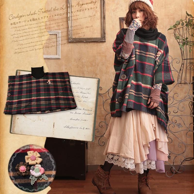 Autumn Winter Sweet Loose Plaid Hooded Coat Women Mori Girl Cute Kawaii Vintage Elegant Plaid Floral