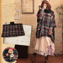 Autumn Winter Sweet Loose Plaid Hooded Coat Women Mori Girl Cute Kawaii Vintage Elegant Plaid Floral Appliques Tartan Coat A034