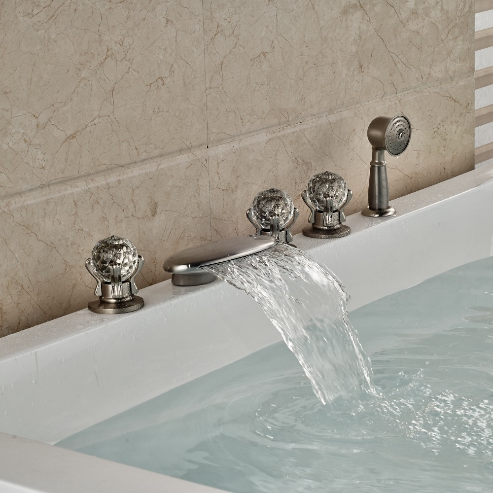 Luxury Nickel Brushed Bathroom Tub Faucet Hand Shower Sprayer Deck Mounted Tap luxury wall mount brushed nickel square shower faucet w hand shower sprayer