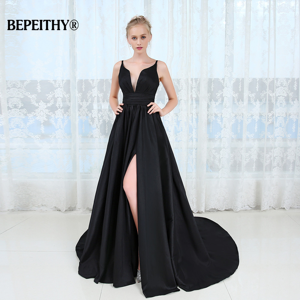 Sexy Deep V-neck Long   Evening     Dress   Robe De Soiree 2019 High Slit Long Prom   Dresses   Vestido De Festa