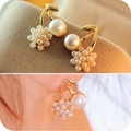 Lovely Cherry Grape simulated pearl Flower gold color Drop Earrings for Women Jewelry Wholesale top quality bijoux gift brincos
