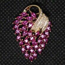 Блестящий дизайн, ювелирное изделие, винтажное твердое 18Kt желтое золото, натуральный бриллиант, розовый Рубин, кулон для продажи E153A
