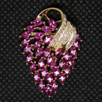 Jewelry Sets Vintage Solid 18Kt Yellow Gold Natural Diamond Pink Ruby Pendant E153A