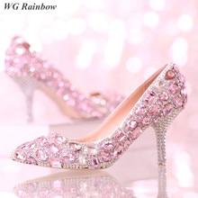 Rosa Strass Diamant Brautschuhe Bling Kristall Spitz Frauen Hochzeit Schuhe High Heels Pumps Kleid Schuhe