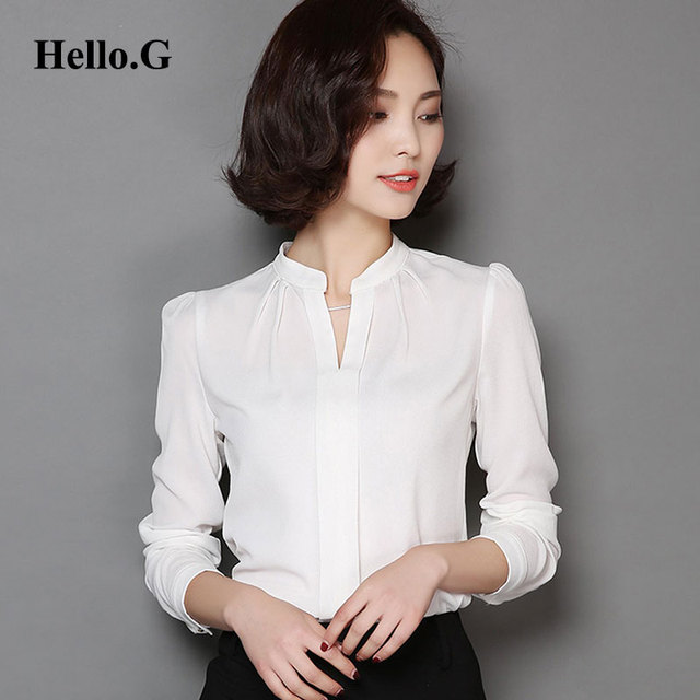 cfdb7c539da8d 2016 Ladies Formal White Chiffon Blouse Women OL Elegant Long Sleeve Sexy  V-Neck Chiffon Shirt For Women Tops Workwear Big Size