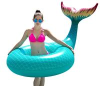 Smartlife Giant Inflatable Mermaid Tail Pool Float with Rapid Valves Summer Beach Swimming Pool Party Lounge Raft
