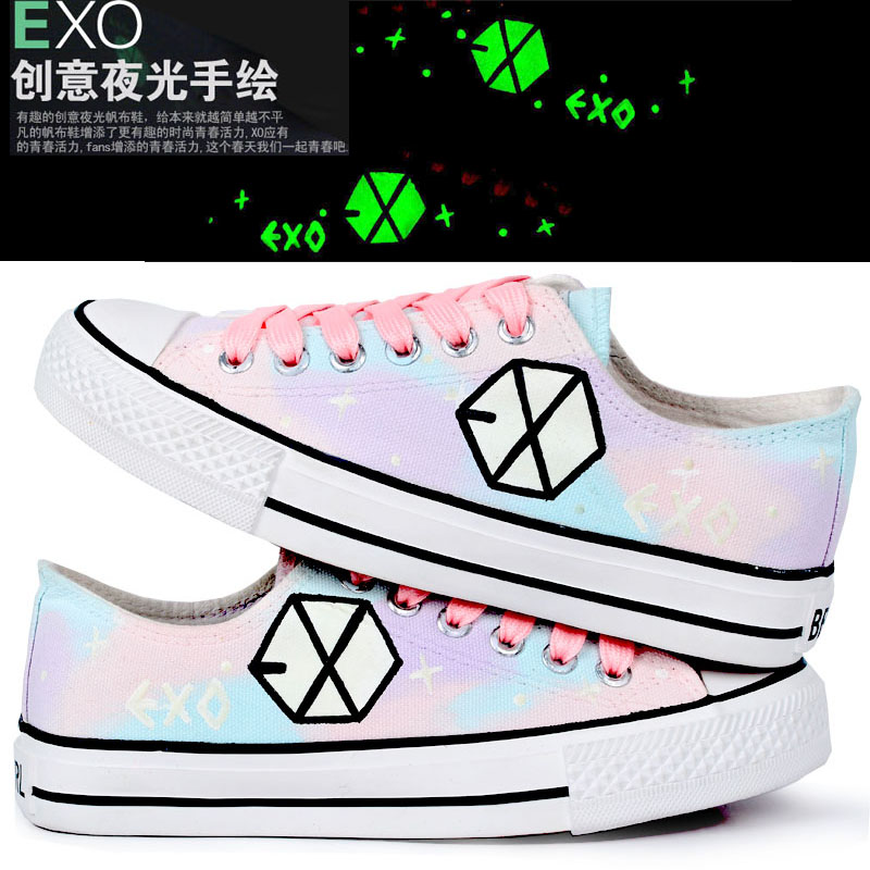 Exo Hand Painted Shoes Graffiti Shoes Canvas Harajuku Low Colored Drawing Luminous Lovers Shoes In Mens Casual Shoes From Shoes On Aliexpress Com Alibaba