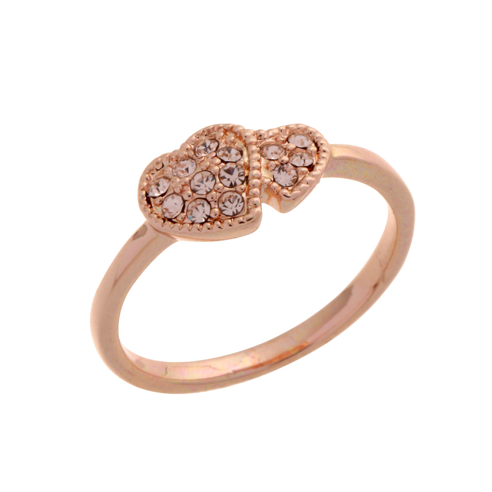 Rose gold ring bague design simple double love heart crystal ring ...