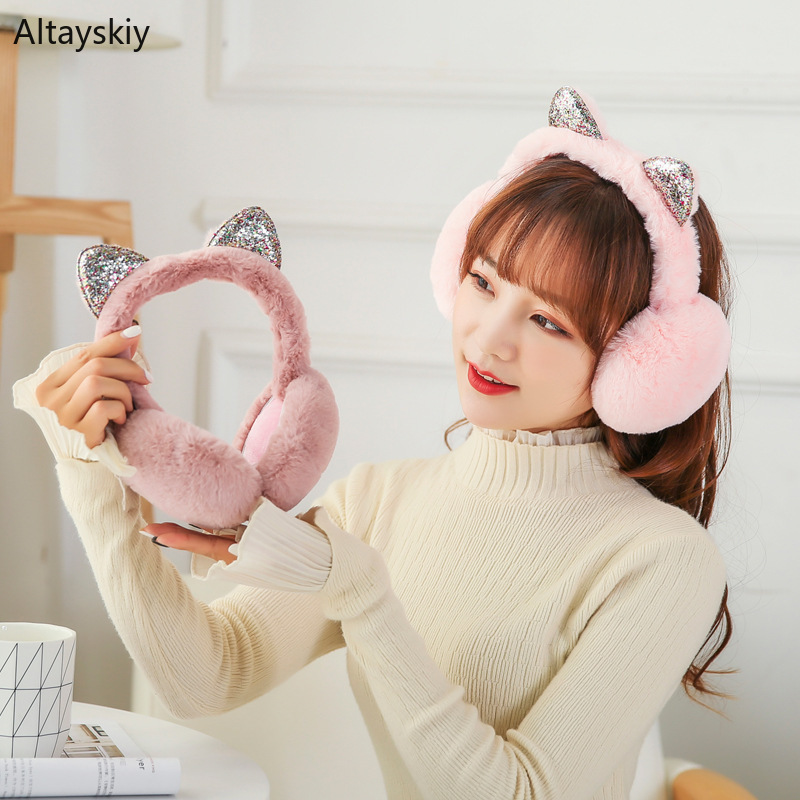 Earmuffs Women Winter New Solid Cat Ears Warm Cotton Plush Faux Rabbit Fur Antifreeze Womens Ear Warmers High Elasticity Trendy