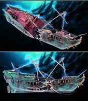 Sıcak Satış Akvaryum Süs Derin Deniz Batırıldı Batığı Batık Gemi Destroyer Oksijen Aerodinamik Oyuncak Gemi Balık Tankı Dekorasyon