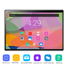 Global 10 inch tablet PC 4GB RAM 12GB ROM 10 Cores Android 7.0 4G LTE Tablets 10.1 IPS HD Screen 2.5D Glass 1920*1200 IPS