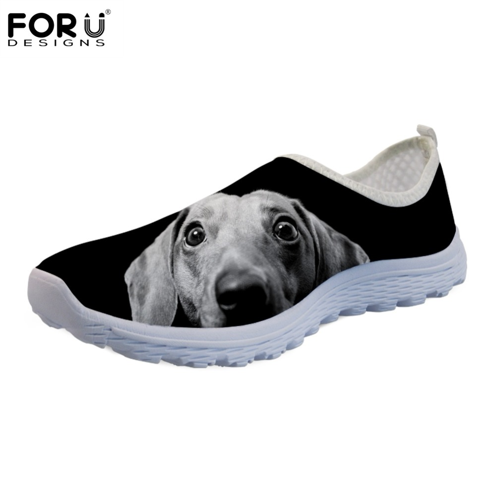 FORUDESIGNS Sneakers Flats Shoes Woman Ladies Loafers Dachshund Comfortable Black Slip-On
