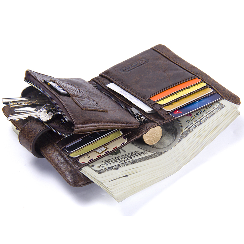CONTACT'S Casual Men's Genuine Leather Short Wallet Hasp Design Key Holders Clutch Purse With Zipper Pouch Wallet Gift For Men 3