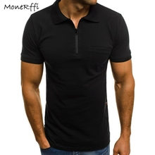 d5bc98eef0d MoneRffi 2019 Man s Short Sleeve Polo Shirt Solid Color Zipper Turn Down  Collar Tee Summer Casual