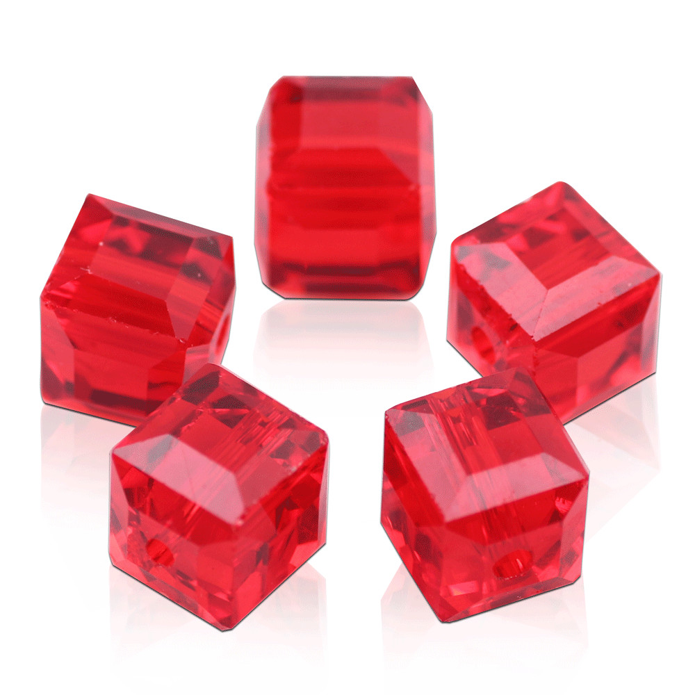 New 10pcs 8mm Cube Square Faceted Crystal Glass Loose Spacer Bead Red