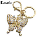 Gold Plated Rhinestone Butterfly Key Chains Rings Holder Crystal For Women Jewelry Bag Pendant For Car Keyrings KeyChains K292