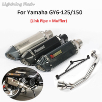 GY6 125 150 Motorcycle Exhaust System Pipe Muffler Header Front Link Tips Pipe + Bracket For Yamaha GY6 125 150 Scooter Escape