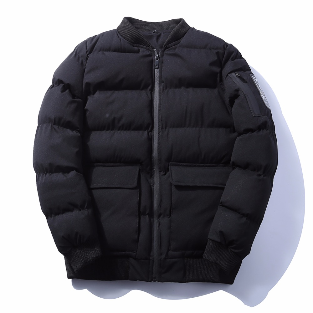 2018 зимние мужские пуховики с капюшоном дизайн теплые длинные куртки сплошной цвет Базовый Стиль толстые ватные куртки пальто куртка-бомбер...