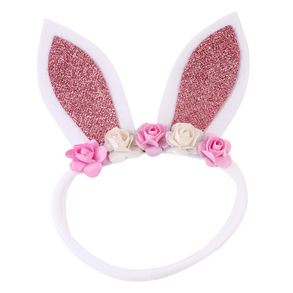1pcs ON SALE Glitter Rabbit Ears Headband Kids Flower Nylon Hair Bands Girls Bunny Nylon Headbands Easter Hair Accessories