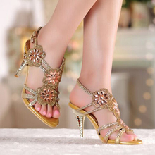Summer Cool Middle High Heel Wedding Dresses Shoe Sandals Beaded Rhinestone Open Toe Lady Bridesmaid  Elegant Shoes Bridal