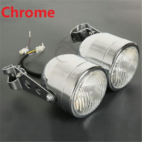 Chrome/Black Twin Front Headlight W/ Bracket For Harley Street Fat Boy Naked Motorcycles Motorcycle