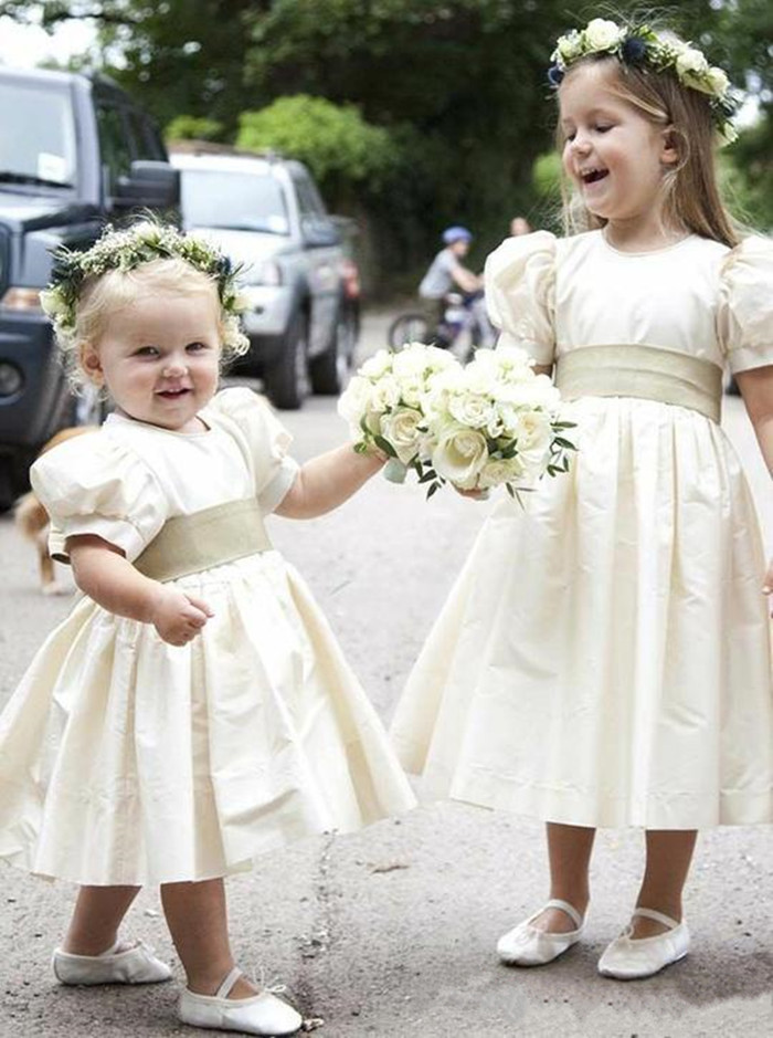 New Coming Lovely   Girls   Pageant Gowns with Belt Bow Half Sleeves Tea Length Satin   Flower     Girl     Dress   For Special Occasion Cheap