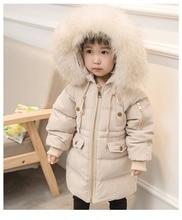 2018 Snowsuit Winter Boy Girls Duck Down Jackets Coat Kids Baby Coats Long Fur Hooded Thick Warm Children Outerwear