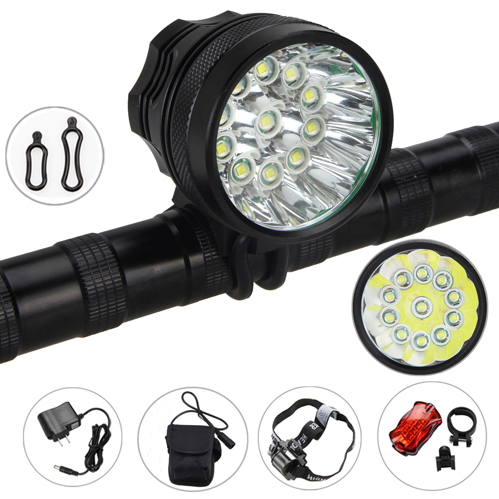 Waterproof Bright 12000LM 11X XML T6 Bike Light Front Bicycel Headlight Bike Accessories +6x18650 Battery+Rear Light