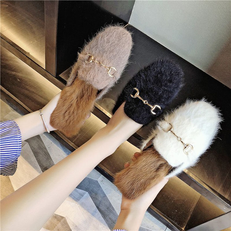 Bailehou High Quality Fur Slippers Flats Ladies Mules Slip On Casual Shoes Brand Slides Flip Flops Woman Shoes Outdoor Slippers bailehou flats casual woman slippers fashion fur women shoes slip on mules female loafers shoes outside slides ladies slippers