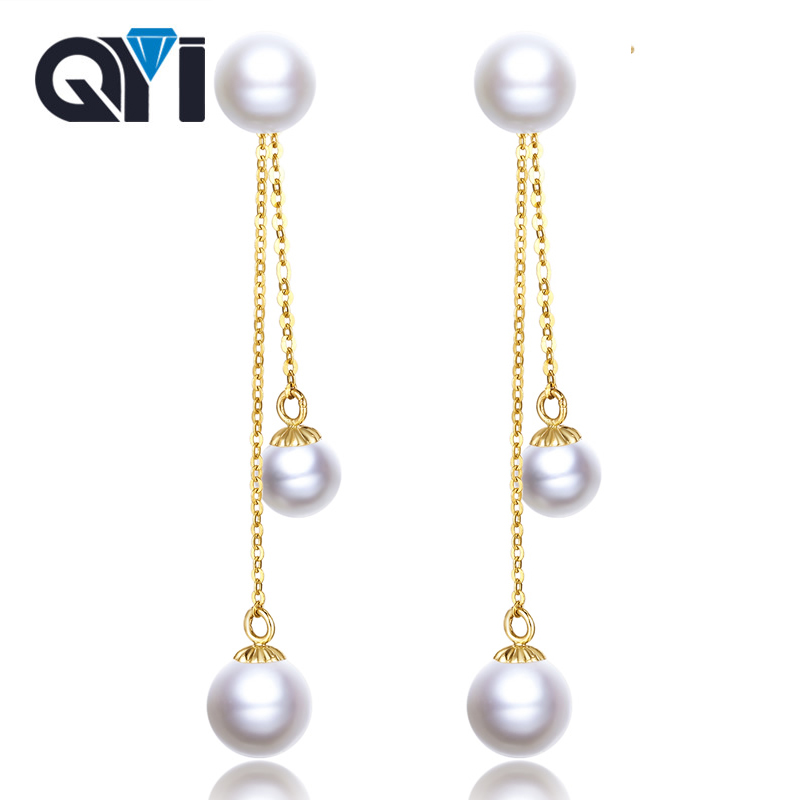 QYI 18K Gold Earrings Fine Pearl Jewelry Round Natural Freshwater Pearl Earrings For Women 6-7mm Classic Wedding Gift