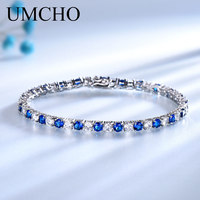UMCHO Luxury Created Nano Blue Sapphire Bracelet Real 925 Sterling Silver Jewelry Romantic Charm Bracelets For Women Gifts