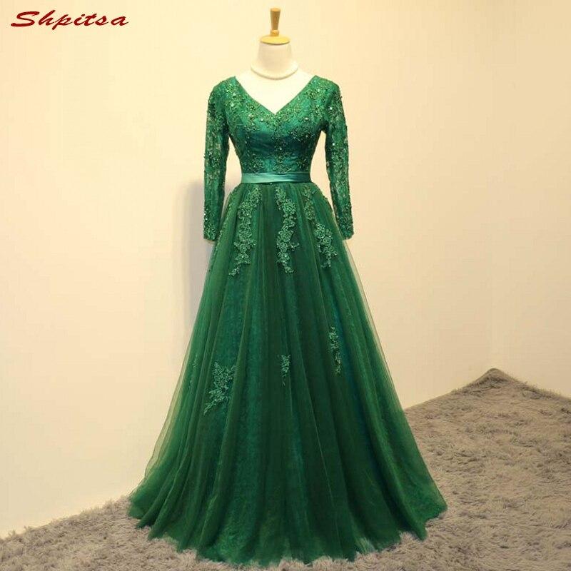 Зеленый с длинным рукавом Кружево Мамам молодожёнов платья для свадеб Линия Свадебные вечерние крестная жениха длинные платья
