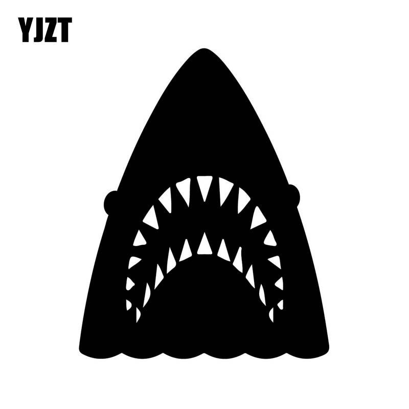 YJZT 11 см * 13,6 см голова акулы индивидуальная виниловая декоративная Автомобильная Наклейка черный серебристый автомобильный Стайлинг C11-0285