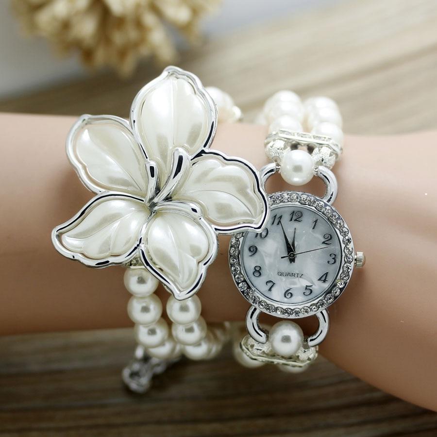 shsby New Fashion Women dress Zegarki Ladies pearl chain biały kwiat - Zegarki damskie - Zdjęcie 2