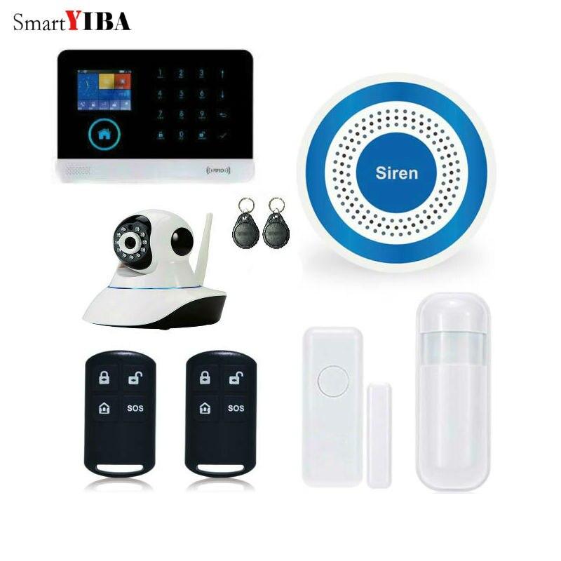 SmartYIBA Wireless Wifi GSM SMS RFID Home Security Burglar Intruder Alarm French Italian Voice WIFI IP Camera Wireless Siren etiger g90b wifi wireless gsm burglar alarm intruder ip camera fire sensor flash siren