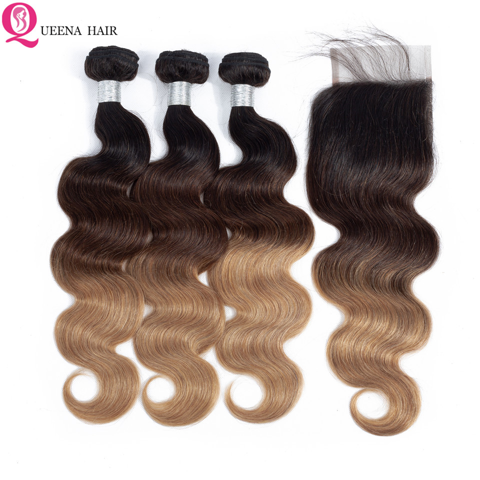 Peruvian Body Wave Ombre Hair Bundles With Closure Remy 1B/4/27 Colored Ombre Human Hair 3 Bundles Deals With Closure Baby Hair