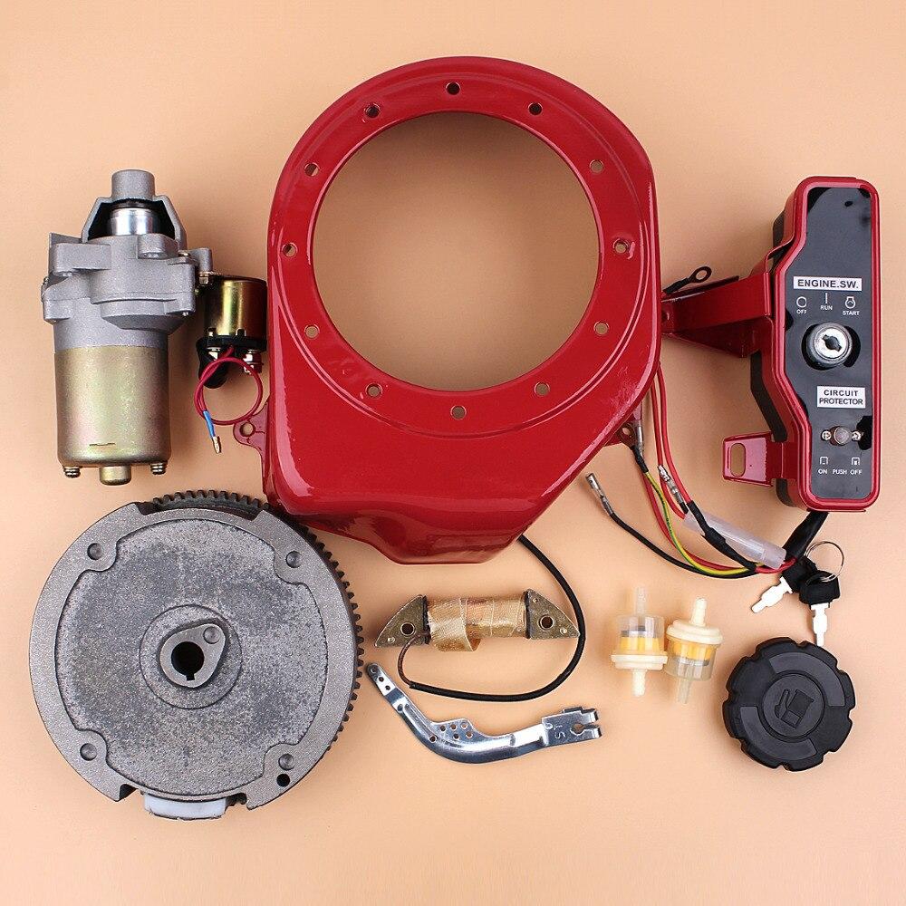 Electric Starter Flywheel Switch Charging Coil Motor Kit For HONDA GX160 GX200 Chinese 168F 5.5HP 4-Stroke Gas Engine Generator
