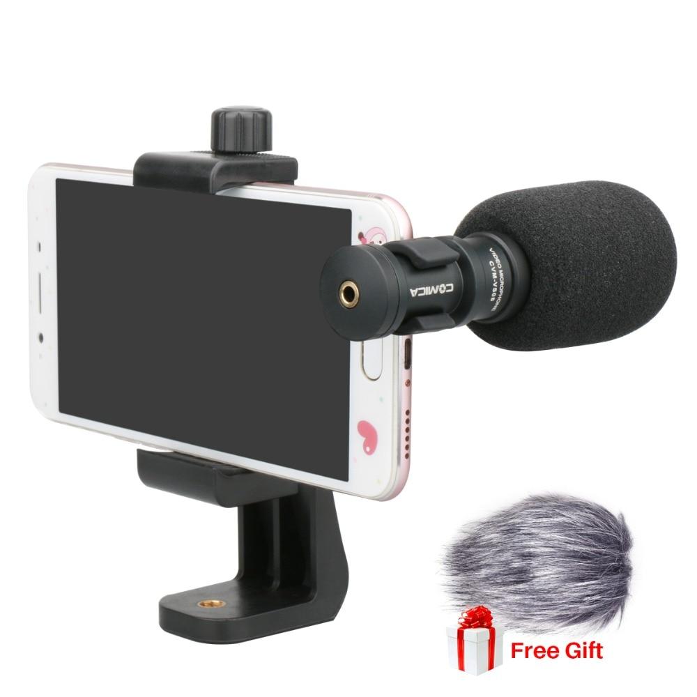 Ulanzi Comica CVM-VS08 Mobile Téléphone Microphone Vidéo Mic Pour iPhone Samsung Smartphone avec Vent Muff Tourné Téléphone Stand