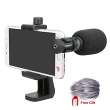 Микрофон Ulanzi Comica для мобильного телефона, видео микрофон для iPhone, Samsung, смартфон с ветровой защитой, вращающаяся подставка для телефона
