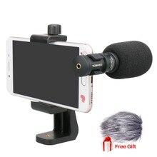 Ulanzi comica CVM VS08 microfone do telefone móvel microfone de vídeo para iphone samsung smartphone com vento muff girado suporte do telefone