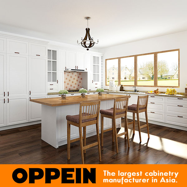 Us 3599 0 Oppein Modern White L Shaped Kitchen Cabinets With Island Op17 Pvc02 In Kitchen Cabinets From Home Improvement On Aliexpress Com