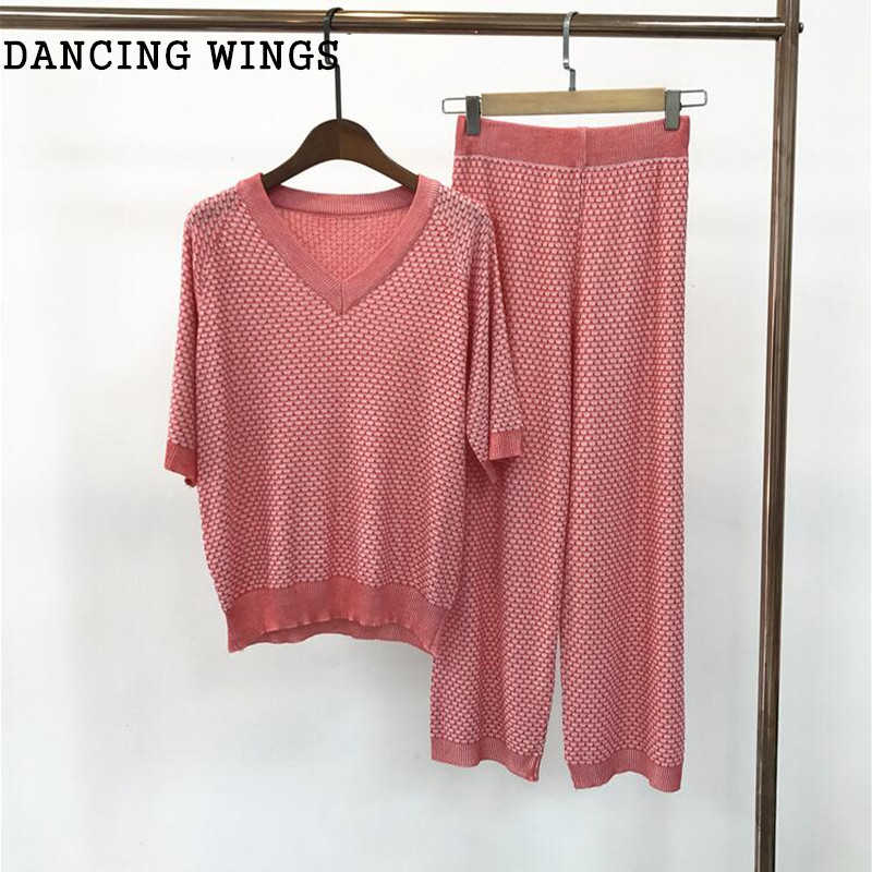 DANCING WINGS 2019 Womens Runway Suits Spring Summer Knitted V-neck Sweater Pullover And Skirt 2 Piece Set Pink