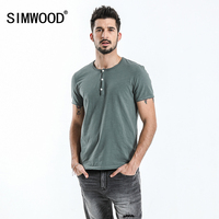 SIMWOOD Henry Collar T Shirt Men Slim Fit Solid Pure Cotton Casual High Quality Tops 100