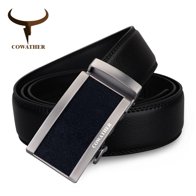 COWATHER Nouveau style 100% vache véritable ceintures en cuir pour hommes  de luxe automatique boucle b74195ca40f