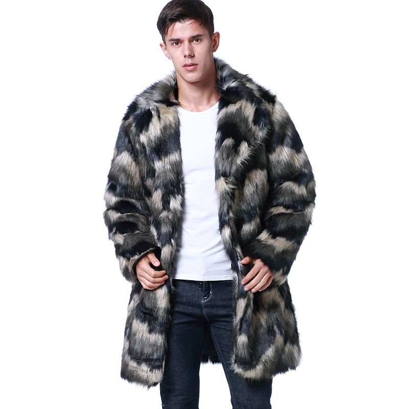 Winter Fashion Long Fur Coat Men's Brand Clothing Thick Warm Striped Faux Fur Jacket Turn Down Collar Casual Trench Coats 2019