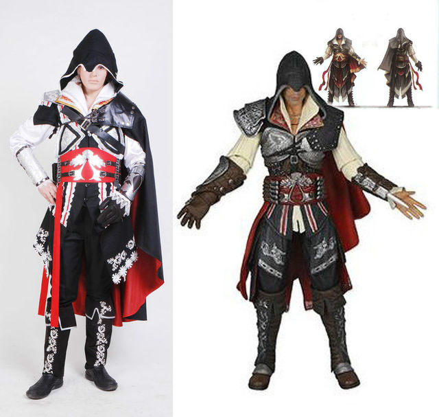 Assassin s Creed 2 II Ezio Cosplay Costume Black Outfit on ... 243466fb3402
